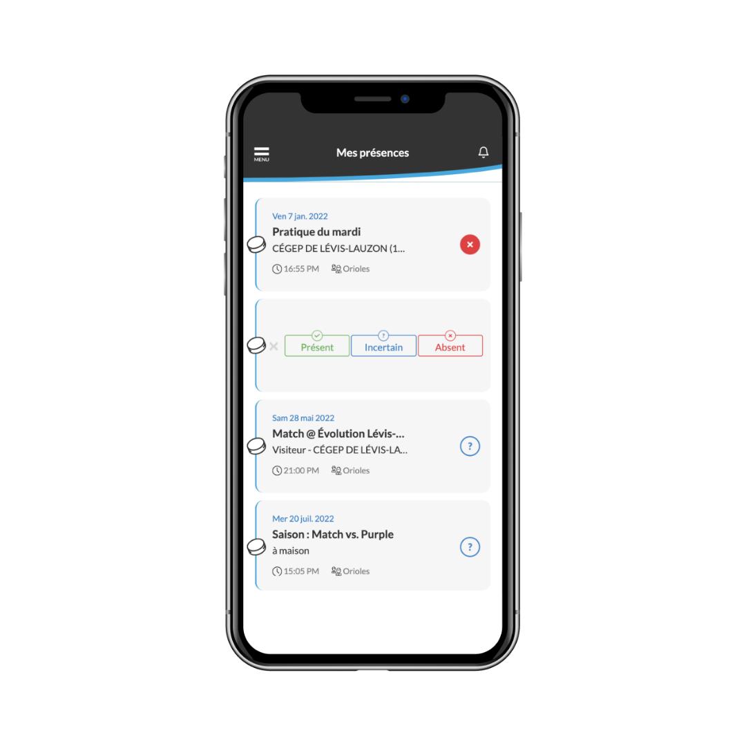gestion des présence à partir de l'application mobile