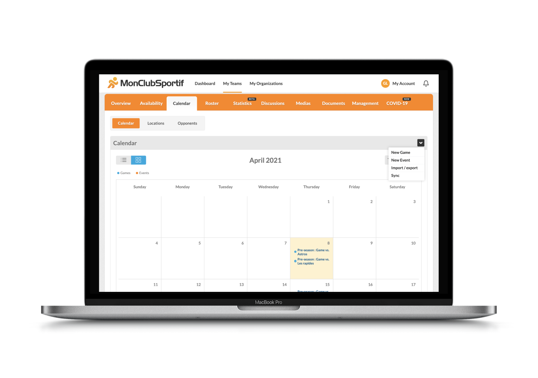 import an excel file to plan the season calendar