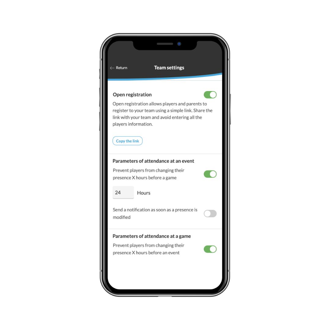 open registration link settings in the app