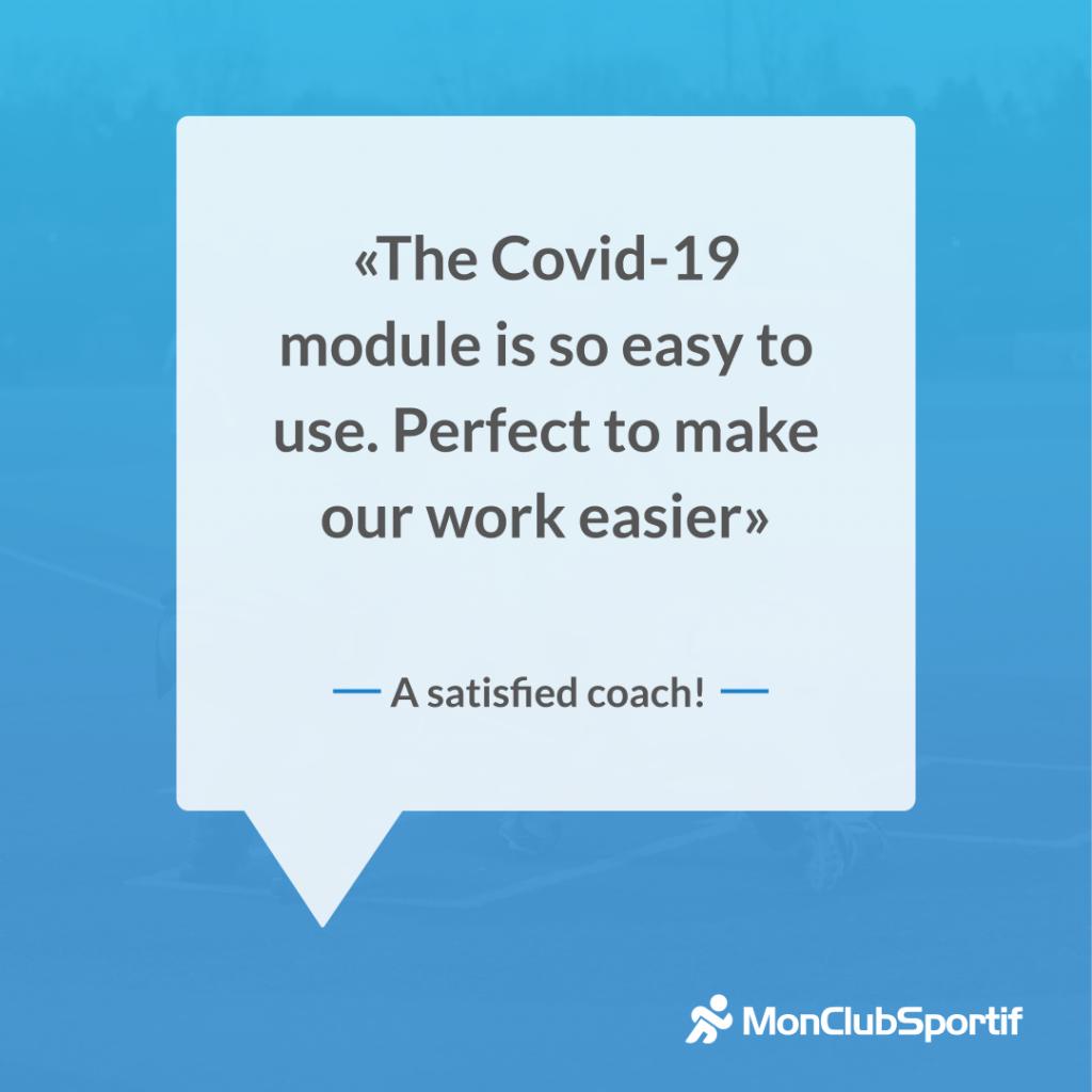 Témoignage d'un coach sur la nouvelle fonctionnalité de covid-19