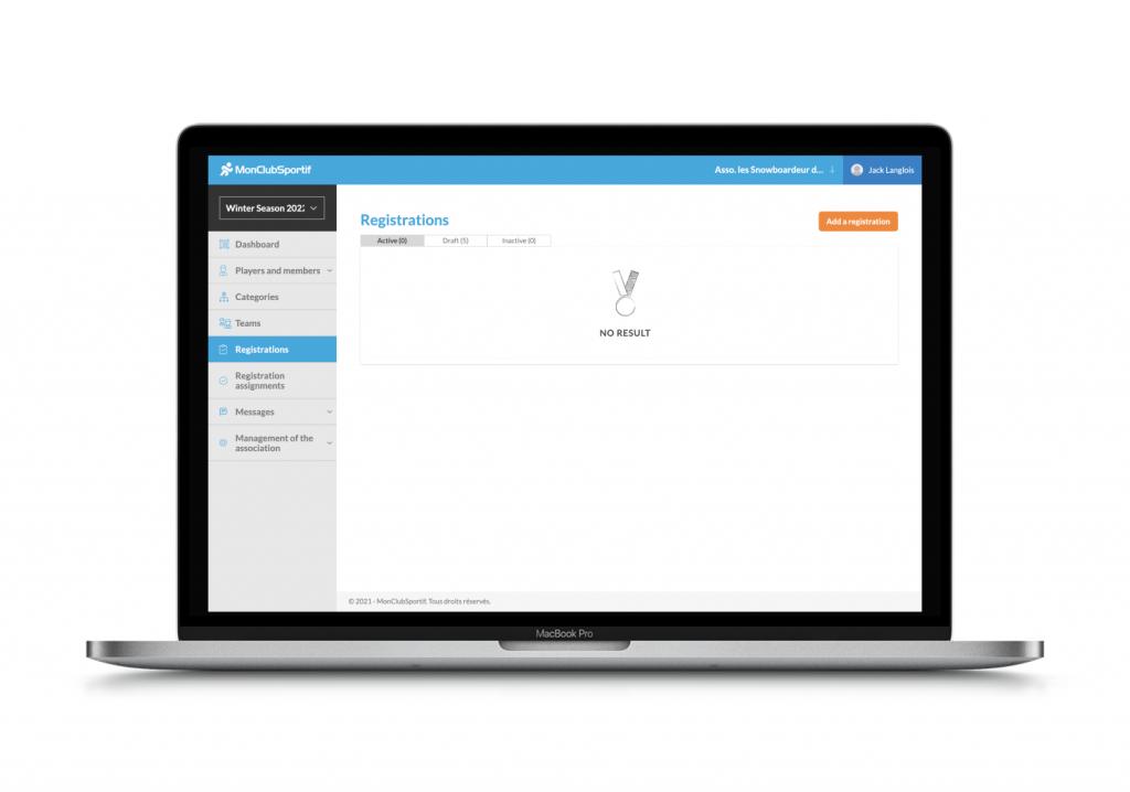 Manage registration on MonClubSportif
