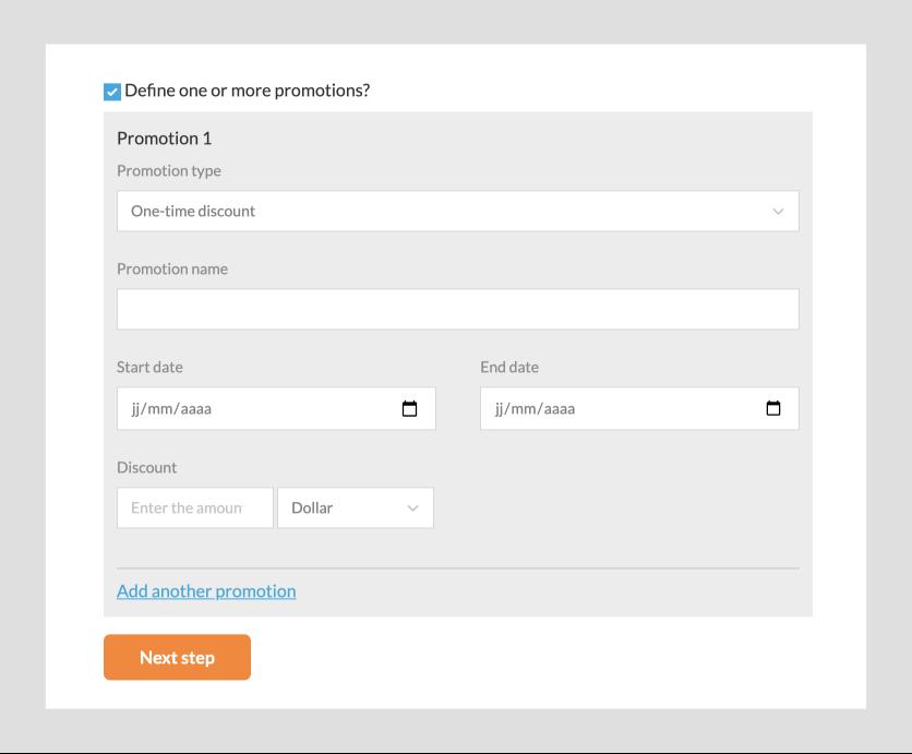 Define a promotion on registration